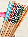 цветочные печатные бамбуковые палочки для еды (1 пара ассорти цветов)