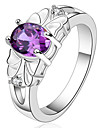AAA Zircon Inlaid Copper Plating Fashion Purple 925 Silver Ring