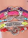 bracelets eruner®leather multicouche alliage charmes colorés bracelet main