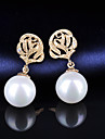 High Quality Women pearl  Drop Earrings Lady 10KT White Gold Filled Earring  Fashion Jewelry For Party
