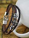 Муж. Кожаные браслеты Кожа Мода Крестообразной формы Черный Коричневый Бижутерия 1шт