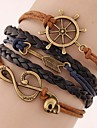 Women\'s Fashion European Style Retro Note Anchor Arrow Multilayer Bracelet