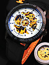 Мужская новый взрыв круглый стеклянный симфония набором кожаный ремешок модного бизнеса механические часы (разных цветов)