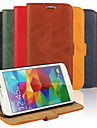 Bark Grain Genuine Leather Full Body Cover with Stand and Case for Samsung Galaxy S5 I9600