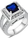 Maxi anel Zircao Zirconia Cubica Gema Moda Azul Joias Casamento Festa Diario Casual Esportes 1peca