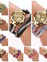 Women's  Small  Round  Dial Colors  Diamante Hemp Flowers Circuit   Flocking  Band Quartz  Watch (Assorted Color)C&d312 Cool Watches Unique Watches