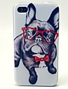 Glasses Dog Pattern TPU Soft Case for iPhone 4/4S