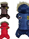 Dog Coat / Hoodie / Clothes/Jumpsuit Red / Blue / Brown Winter Police/Military Fashion / Keep Warm