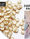 200pcs bege perola de metal lipping Decoracoes Nail Art 4 milimetros