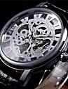 WINNER® Men\'s Semi-Mechanical Manual Winding Fashion Skeleton Watch PU Leather Strap Cool Watch Unique Watch