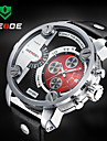 WEIDE Men Military Design Dual Time Zones Watch Quartz Analog Leather Strap Cool Watch Unique Watch