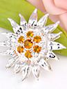 мода вперед круглый Бразилия цитрин камень 925 серебряные подвески для подсолнечника ожерелья для свадьбы партии повседневной 1шт