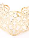 European Style Fashion Hollow Metal Wild Flower Wide Cuff Bracelets