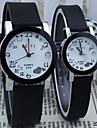 Pareja Reloj de Vestir Cuarzo Aleacion Banda Reloj de Pulsera Negro