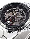 Men\'s Auto-Mechanical Fashion Skeleton Silver Steel Band Wrist Watch