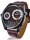 Hombre Reloj Militar Cuarzo Japones LCD / Calendario / Tres Husos Horarios Piel Banda Reloj de Pulsera Negro / Rojo / Marron