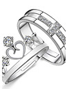 Alliances Coeur Quotidien Decontracte Sports Bijoux Argent sterling Couple Couple de Bagues 2pcs,reglable Argent
