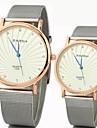 Мужской Женские Для пары Модные часы Кварцевый сплав Группа Серебристый металл Белый Черный