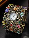 Fashion Style Flower Shape Round Quartz Bangle Watch(Bronze)(1Pc) Cool Watches Unique Watches