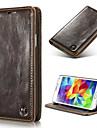 cor solida de corpo inteiro pu caso telefone flip com saco de cartao para Samsung Galaxy S4 / S5 / S5 Mini / S6 / edge S6 / edge S6 mais