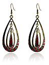 European Style Retro Drill Concentric  Water Drop Earrings