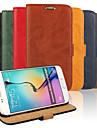 Для Кейс для  Samsung Galaxy Бумажник для карт / со стендом / Флип Кейс для Чехол Кейс для Один цвет Искусственная кожа SamsungS6 edge /