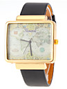 Unisex World Map Pattern Square Dial PU Band Quartz Watch Wrist Watch Cool Watch Unique Watch
