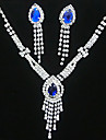 Lucky Doll Women\'s All Matching 925 Silver Plated Crystal Zirconia Tassel Long Necklace & Earrings Jewelry Sets