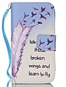 Feather Pattern PU Leather Material Flip Card Phone Case for iPhone 4/4S