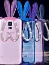 transparent kaninöron tpu skyddande bakstycket med stativ för samsung galaxy s6 / S5 / S4 / S6 kanten plus (blandade färger)