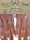 European Style Retro Fashion Exaggerated Geometric Triangle Arrow Ring Set