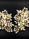 2 PCS Golden Olive Leaf  Barrette for Wedding Party Hair Jewelry (11*7CM,set of 2)