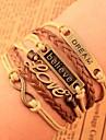 Unisex Multilayer Leather Bracelet Believe & Dream & Love