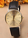 Men's Round Gold Plate Geneva Simple Leather Watch Cool Watch Unique Watch