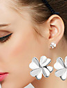 S925 Fine Silver Lucky Clover Four Leaved Clover Stud Earrings(1 pair)