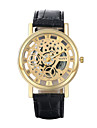 Authentic moment Leather watch Waterproof Skeleton Watch men watch Gold case quartz watch 2 Dial Color WH0019A-W