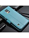 For Samsung Galaxy etui Pung / Kortholder / Med stativ / Flip Etui Heldækkende Etui Helfarve Kunstlæder Samsung S5
