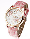 new fashion womage 2015 classic flower pattern gold case brand leather women ladies casual wrist dress watch Cool Watches Unique Watches