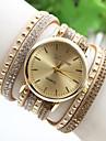 Женские Модные часы Часы-браслет Кварцевый Кожа Группа Черный Белый Красный Золотистый