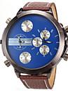 Men\'s Military Dual Time Display Leather Band Quartz Wristwatch