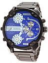 Мужской Армейские часы Наручные часы Календарь С двумя часовыми поясами Кварцевый Нержавеющая сталь Группа Черный
