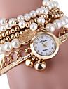 Damen Modeuhr Armband-Uhr Quartz Armbanduhren fuer den Alltag Legierung Band Perlen Silber Gold Gold Silber