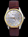 L.WEST Men\'s Waterproof Leather Calendar Analog Quartz Watch Wrist Watch Cool Watch Unique Watch