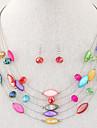 Femme Cristal Boheme Mode Multicouches bijoux de fantaisie Resine Coquillage Alliage Colliers decoratifs Boucles d\'oreille Pour Soiree