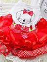 개 드레스 레드 / 그린 / 옐로우 여름 / 모든계절/가을 리본매듭 / 도트 무늬 패션