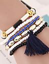 Women\'s Fashion Wild Metal Flower Beads Multilayer Tassel Bracelet