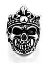 щедрым индивидуальное нет ни одного декоративного камня мужской лак горячей сушки череп кольцо из нержавеющей стали (черный) (1шт)