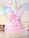 Dog Dress / Clothes/Clothing Blue / Pink Summer Plaid/Check / Bowknot Fashion