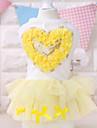 Собаки Платья Желтый / Розовый Одежда для собак Лето Сердца Мода