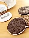NIP шоколадное печенье зеркало компактный гребень милые леди аксессуар весело креативный дизайн случайный цвет